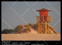 Baywatch (__Viledevil__) Tags: baywatch lifeguard beach cadiz sand yellow life protection tower rescue wood dune