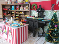 13. North Pole Bakery (Foxy Belle) Tags: christmas miniature dollhouse 16 scale holiday playscale bakery candy cookie sweets shop red green food doll vintage
