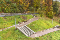 concrete ladder in the autumnal park (vitaliy_plyaka) Tags: illustration mountain crown ladder down ancient high yellow cloud outdoor landscape acrylic architecture impression autumn architect concrete stone view fall landmark stair color viewpoint text leaf artwork fluffy nature weather travel horizon hobby park art paint place sky digital tourism history top asia image tree picture white historic ukraine kiev