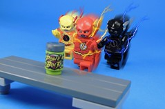 Race For Speed (MrKjito) Tags: lego minifig super hero comic comics flash reverse zoom hunter zolomon eobard thawne barry allen speedsters cw speed force energy drink race