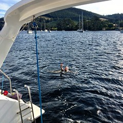 The Mothership. Swimming off Bella Luna after a hot day in Cygnet...