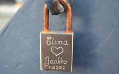 Elina <3 Jaakko 11/08/2012 (louisemccall53) Tags: padlock love couple metal bridge promise rust silver leith edinburgh scotland britain january 2017 nikond3400 nikon architecture edinburghlife realedinburgh