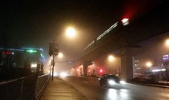 Foggy night (bottledale999) Tags: night lights skytrain train transit city street vancouver evergreen bc coquitlam fog