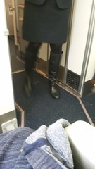 20161208_092243 (ph4eveh) Tags: candid flight attendant black boots tights secy legs woman