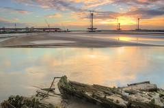 Mersey Flat Boat Wreck (poss Eustace Carey) (Jeffpmcdonald) Tags: rivermersey spikeisland merseyflat boat widnes merseyside sunrise bridge newmerseygateway nikond7000 jeffpmcdonald oct2016 eustacecarey santarosa