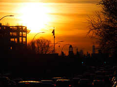 Queen Sunset (Steven Bornholtz) Tags: freedom tower flushing queens new york city ny nyc us usa united states america picture imagery photography traffic cars dusk steven steve bornholtz dj midway djmidway olympus ep5 pen winter 2017 outdoors lunar year