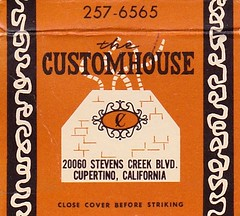 the CUSTOMHOUSE - Cupertino, California (hmdavid) Tags: vintage matchbook matchcover midcentury art illustration design advertising customhouse restaurant cupertino california