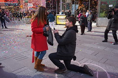Surprise proposal  Times Square NYC Valentine's Day (AndrewDallos) Tags: nyc new york city manhattan times square valentine valentines day proposal surprise