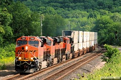 The Transcon's Ubiquitous Stacks (Jeff Carlson_82) Tags: railroad train ks railway hills kansas bluffs ge shawnee railfan bnsf zarah intermodal doublestack burlingtonnorthernsantafe gevo es44ac transcon es44c4