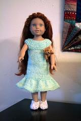 Katrina's new nightgown (Crazyquilter) Tags: katrina knitting teddybear knitted tinybear globalfriends