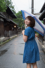 Rainy day, but I'm fine! (HIROSHI MACHIDA) Tags: street portrait cute girl rain june japan umbrella japanese kyoto pretty natural outdoor snap date