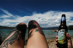 (isawfortyfoursunsets) Tags: lake hot dogs heidi riley legs ben or cider orchard tattoos angry wyoming wy