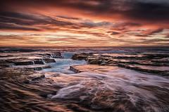 Corner Flow (Crouchy69) Tags: ocean sea sky seascape beach water clouds sunrise landscape flow dawn coast rocks waves sydney australia narrabeen
