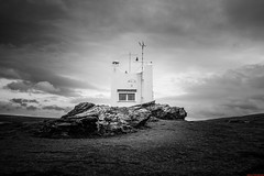 Willapark Lookout (aljones27) Tags: sea sky blackandwhite bw cloud weather landscape cornwall wind cloudy harbour windy overcast land cornish boscastle