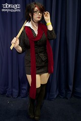 IMG_6733 (Neil Keogh Photography) Tags: red white stockings cane scarf glasses cosplay skirt blouse suit jacket ruler fiora headmistress highheelsblack leagueoflegends mcmcomicconmanchester2015