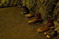 Shoes ! (Leftover from life in fear in a bunker during World War 2) [2] (FHgitarre) Tags: shoes fear bunker leftover schuhe worldwar oldshoes eifelmuseum