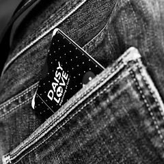 Love 29/52 (Go-tea 郭天) Tags: canon eos 100d 50mm bw bnw black white blackwhite blackandwhite monochrome 52 52project 29 love card jeans pocket back closeup indoor inside english text letters words daisy belt trousers