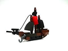 Micro-Scale Pirate Ship (Main) (Harding Fallohide) Tags: studsnotontop whitebackground microscale pirate lego moc