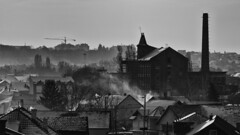 Cold Factory Town (coa75) Tags: lowkey factory town cold winter snow smoke chimney roofs houses blackwhite industrial abandoned old vintage
