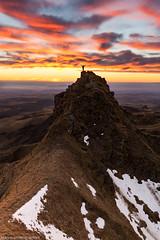 Sancy sunset and the man (marvinlemuzz) Tags: sancy mountain montagne nuages cloud couleurs neige hauteur altitude canon f16 sun light lightroom auvergne nuances bleu rouge orange