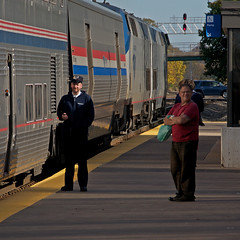 Waiting on a train (PrairieRailfan) Tags: amtrak bnsf californiazephyr chicagosub copyright2016michaelmatalis napervilleile4thave nikond300 passengercars people