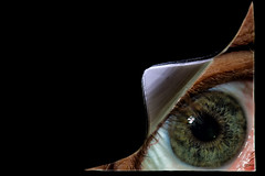 Keep Your Eyes Peeled (Boba Fett3) Tags: macromondays itsapeelingtome macro tape black negativespace eye peel canon1dmkiv canon100mmf28 photoshop