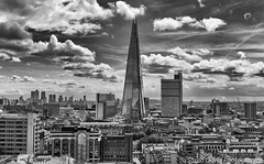 View from the Switch House Viewing Platform (SarahO44) Tags: london england unitedkingdom gb switch house tate modern view viewing terrace shard city canary wharf canon 6d black white clouds cloudscape labndscape skyscraper towerblock skyline reflection uk