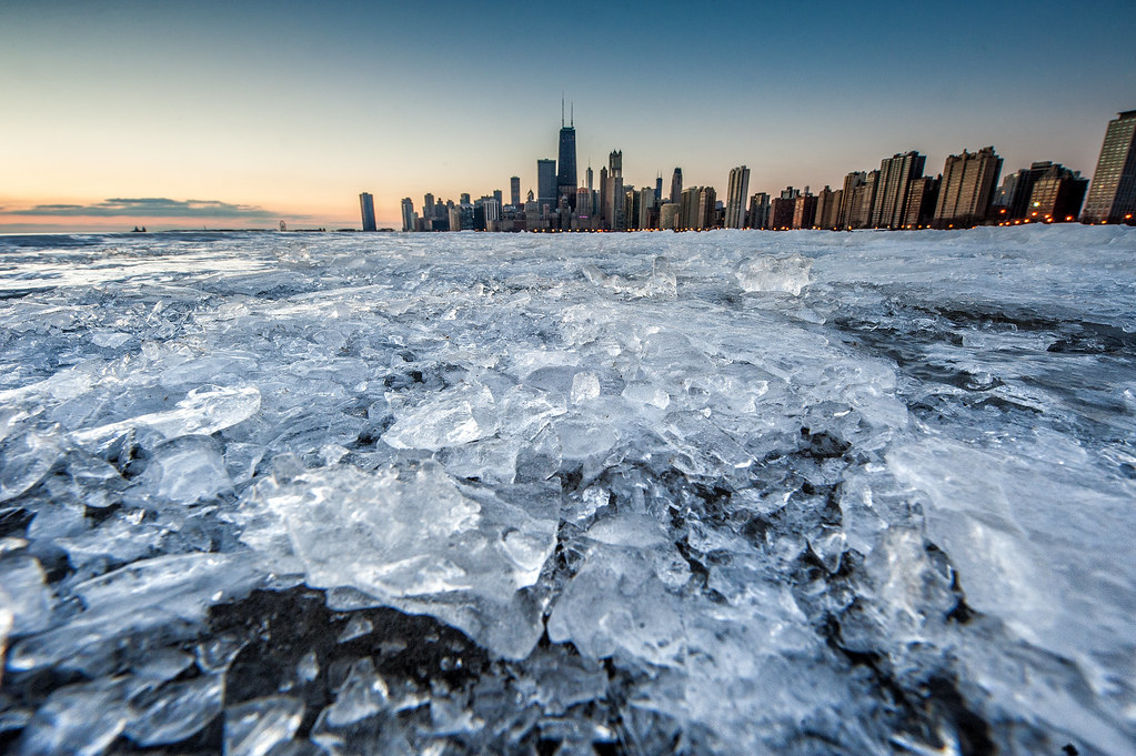 Broken ice on the North Ave. Beach Jetty with the Chicago Skyline in the background.