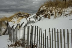 Before the Storm (Bud in Wells, Maine) Tags: ogunquitbeach maine winter fence dunes snow cloudy
