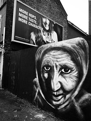 Before and After (Feldore) Tags: street art face mural belfast strong stark feldore mchugh em1 olympus 1240mm northern irish ireland hoarding wall character drink affect before after alcohol