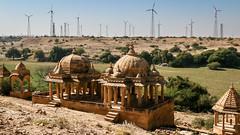 Windmills and royal cenotaphs in Bada Bagh, Jaisalmer, India ジャイサルメール バダ・バーグの王家の墓と風力発電所 (travelingmipo) Tags: travel photo india asia 旅行 写真 インド アジア rajasthan ラジャスタン ラジャスターン goldencity ゴールデン・シティ jaisalmer ジャイサルメール badabagh barabagh バダ・バーグ architecture cenotaph chhatri arch dome pavilion monument windmill windpower 風力発電所 風車
