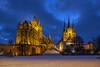 Dom und Severikirche (sirona27) Tags: erfurt thüringen deutschland stadt altstadt architektur dom severikirche bauwerke baustil gotik winter januar abend beleuchtet schnee