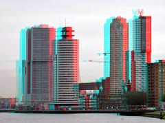 Kop van Zuid Rotterdam 3D (wim hoppenbrouwers) Tags: anaglyph stereo kopvanzuid rotterdam 3d redcyan skyline city