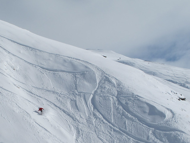 Fresh tracks on Lower Mine Shaft - Treble Cone, Wanaka NZ (September 16, 2014)