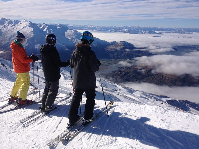 Kit, Edward, George checking out lines from High Street - Treble Cone, Wanaka NZ (July 15, 2014) (2)