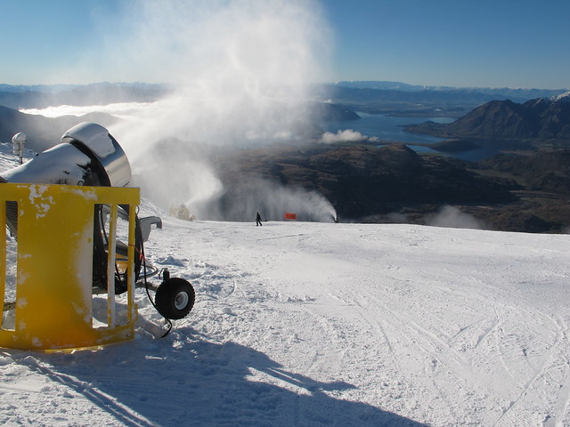 Snowmaking on lower Main Street - Treble Cone, Wanaka NZ (4 August 2014)