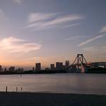 Strand von Odaiba bei Sonnenuntergang, Tokyo