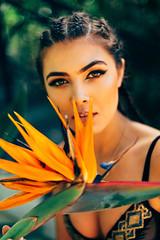 Egyptian Pharaoh (NatVon Photography) Tags: flowers sexy girl fashion hair princess makeup sanjose style exotic birdofparadise egyptian braids cleopatra natvon deuxluxe brookehaag