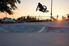 BMX Tabletop (Braden Bygrave) Tags: sunset summer sun table cool nikon bmx fisheye skatepark tabletop nohands kitchner 18140mm