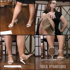 Scarlet Waits Impatiently in Boss's Office (Fanta_Productions) Tags: highheels sandals pantyhose highheelsandals dirtyshoes strappysandals