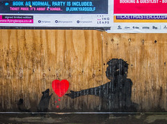 I gave you my heart (PDKImages) Tags: art street manchesterstreetgallery manchesterstreetart streetart contrasts couple love artinthecity ripartist faces abandoned girl bee bees manchester walls posterart stencilart heart hidden dmstff cityscape cityscene