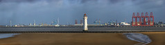 a stormy day at Perch Rock (lunaryuna) Tags: england wirralpeninsula newbrighton wallasey liverpooldocks coastline perchrocklighthouse coast river merseyside docks industrialliverpool urbanbeach storm stitchedpanorama seascape urbanlandscape lunaryuna