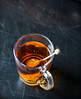 A cup of tea (WillemijnB) Tags: tea russianearlgrey blacktea scratches blacksurface orange sugar sugarcrystals