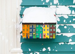 Mailbox (Karen_Chappell) Tags: mailbox jellybeanrow newfoundland nfld city downtown stjohns house rowhouse green yellow orange blue red post mail snow winter wood wooden paint painted clapboard home urban canada atlanticcanada january