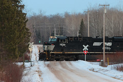 One for the Road (view2share) Tags: ns7620 ns norfolksouthern ge generalelectric locomotive northwoods northwood northwesternwisconsin solonsprings wisconsin wi winter cold snow snowfall cn canadiannational superiorsub deansauvola january162017 january2017 january 2017 railway railroading rr railroads railroad rail rails railroaders rring freight freighttrain track transportation trains tracks train transport trackage trees evening