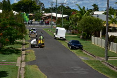 Roller vibration compactor (Images by Jeff - from the sea) Tags: nikon d7200 clouds bluesky wheels palmtrees powerlines powerpoles mazda school green grass trees tamronsp2470mmf28divcusd