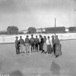 North-West Mounted Police playing hockey in costumes thumbnail