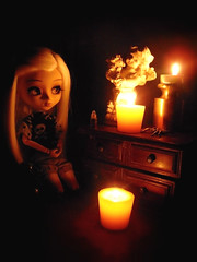 Worship ✿ADAW 23/53✿ (Antique Wolf) Tags: 2005 cute horizontal dark toy scary worship doll pretty candle awesome gothic adorable honest be cherub coolpix ritz pullip elegant forgot which sittin veritcal obitsu 27cm zuora ritzzzz