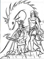 ภาพระบายสี เมงเบง เจ้าหญิงเมืองแปร และเลวีอาธาน