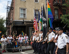 Cops With Flags (Oquendo) Tags: street new york city gay people music festival sex lesbian happy march rainbow cops village manhattan colorfull greenwich families christopher police marriage pride flags parade bands rights same personalities multicultural floats genre ssm equality bleecker officers orgullo 2015 lgbtt etreets